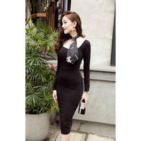 Đầm ôm body đen tay dài D423