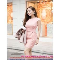 Đầm công sổ thiết kế ôm dáng màu hồng xinh đẹp và thanh lịch DOV503