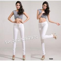 Quần jean trắng lưng cao 4 nút xinh xắn HQ161