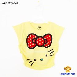 Áo thun cánh dơi nhúng hông mèo kitty màu vàng