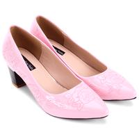 Giày cao gót bít mũi hoa hồng - S5H012H