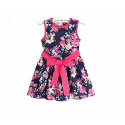 Đầm bé gái phối họa tiết hoa lá rực rỡ - DB002