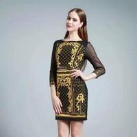 Đầm in 3D hoạ tiết phối tay ren cao cấp - Hàng nhập từ Quảng Châu