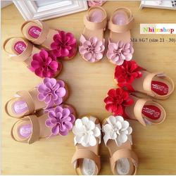 Sandal đính hoa cho bé gái 1 - 8 tuổi SG7
