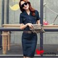 MTL - Đầm jean dáng dài tay ngắn