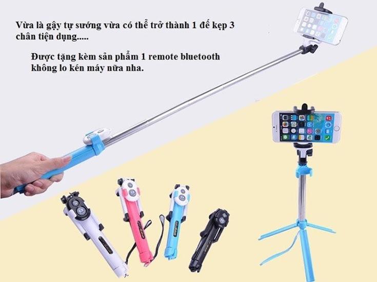 Gậy tự sướng kết nối bluetooth kiêm giá đỡ 3 chân WXY-01 2