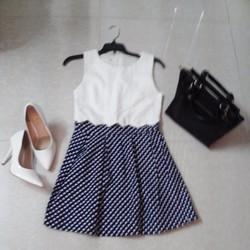 Đầm xòe phối màu chấm bi HÀN QUỐC đi chơi Tết
