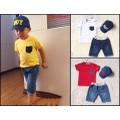Bộ quần jean áo thun kèm nón đón xuân cực ngầu cho bé từ 3-10 tuổi