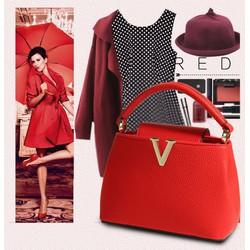 Túi xách nữ da bò, vân nhỏ phong cách hiện đại