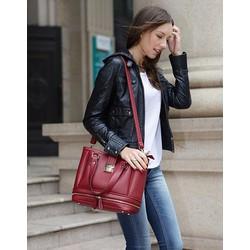 Túi đeo chéo nữ, phối khóa sành điệu, cá tính, thời trang , DA PU