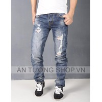 Quần Jeans Nam rách bụi độc đáo