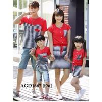 Áo gia đình màu đỏ phối sọc trẻ trung HGS 144