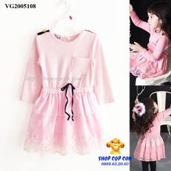Đầm tay dài phối ren màu hồng size 100-140