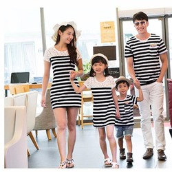 Set áo gia đình sọc phối ren cao cấp HGS 146