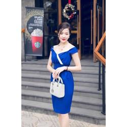 Đầm ôm body xanh trễ vai D439