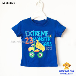 Áo thun màu xanh hình xe ben size 1-5T