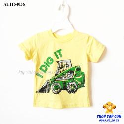 Áo thun màu vàng hình xe ủi size 1-5T