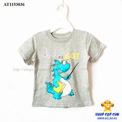 Áo thun màu xám hình khủng long xanh size 1-5