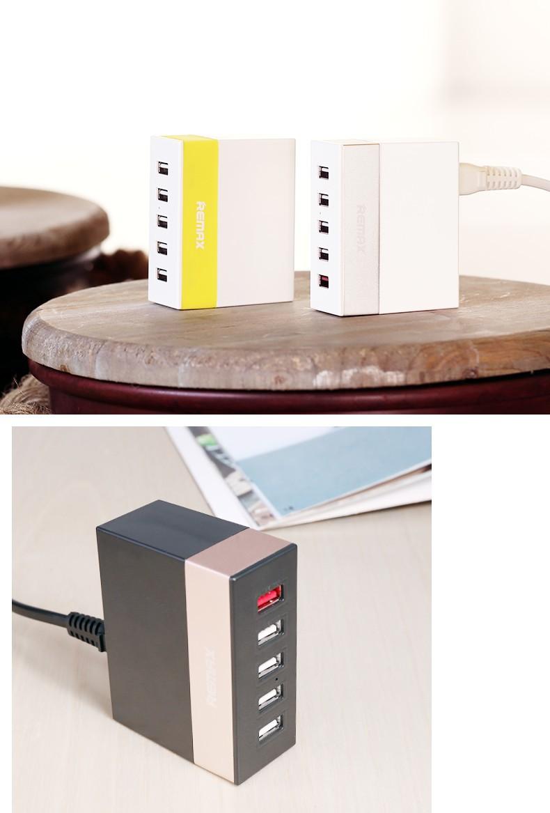 CÓC SẠC 5 CỔNG REMAX với thiết kế nhỏ gọn sạc cùng lúc 5 thiết bị 10