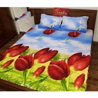TTShop -  Bô Ga Giường Cotton Hoa Tulip TTShop 1.6x2m