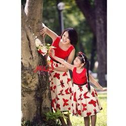 Đầm đôi bướm đỏ cho mẹ và bé iu