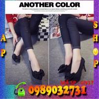Giày cao gót nư phối nơ đen-GN17