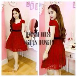 Đầm Đỏ Ren Xòe Tay Con Giống Femi EKE-D798