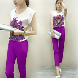 Set bộ đồ nữ quần ống ôm phối áo voan hoa trẻ trung -AQ340
