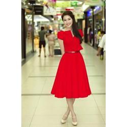 Đầm xòe nơ Thu Thảo hiện đại, gợi cảm-V001