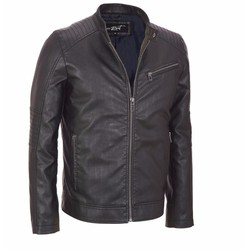Black Rivet Faux Leather Cycle Jacket w Tab Collar