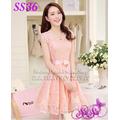 Đầm ren nơ hồng cam - SS36