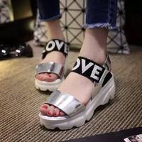 Giày Sandal nữ quai da cao cấp màu bạc cá tính mẫu mới 2016 - SG0146