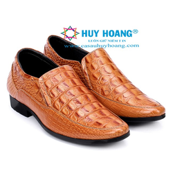 Giày nam Da thật Huy Hoàng vân cá sấu màu vàng TX_212