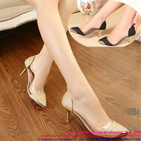 Giày cao gót đính kim sa bao viền nhựa trong sành điệu GCN220