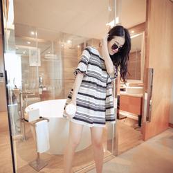 Đầm bầu Hàn Quốc sọc vải đẹp mặc mát