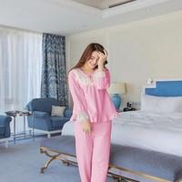 Đồ bộ mặc nhà dài tay áo lai bèo phối ren xinh đẹp NN397