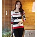 Áo len nữ phối màu sọc ngang Mã: AX1815 - ĐỎ