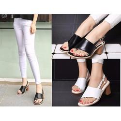 Giày sandal đế vuông quai kẹp dây hậu