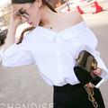 Áo sơ mi nữ trắng kiểu vạt áo rộng sexy cho các nàng sành điệu-167