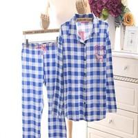 Đồ bộ nữ pyjama caro hình logo pink dễ thương NN392