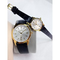 Đồng hồ cặp dây da giá rẻ Omega C-OM052-SGL