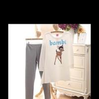 ét đồ bộ hình chú nai bambi form rộng phối quần dài NN383