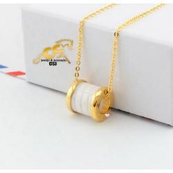 Dây chuyền titan BVL trắng sang trọng màu vàng tươi- Trang sức inox