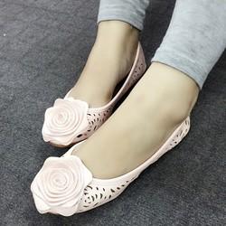 Giày Búp Bê Hoa Hồng khắc lazer phong cách hàn Quốc