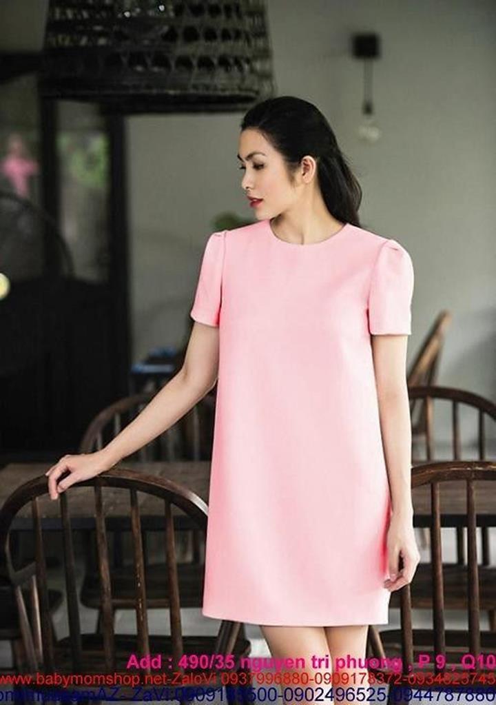 Đầm suông tay con màu hồng dễ thương như Hà Tăng DSV125 1