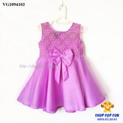Đầm voan phối ren màu tím size 1-8