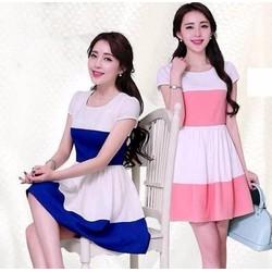 Đầm xòe phối 2 màu dành cho ban gái ddp08201