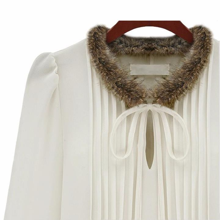 Quý phái mùa đông với đầm cổ lông Âu Mỹ 2