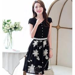 Mã số 580131 - Váy xòe thêu hoa nổi hàng nhập cao cấp