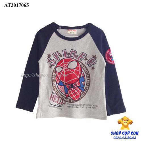 Áo thun tay dài phối màu hình spider man size 90-130